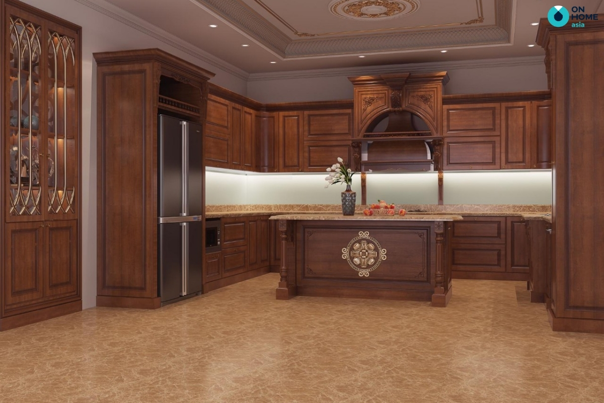 tủ bếp chất liệu gỗ tự nhiên đẹp