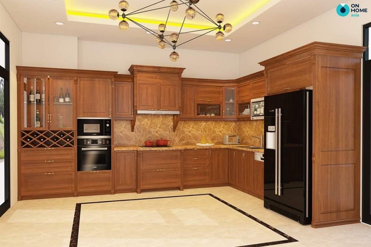tủ bếp gỗ tự nhiên mạng lại cảm  giác ấm cúng