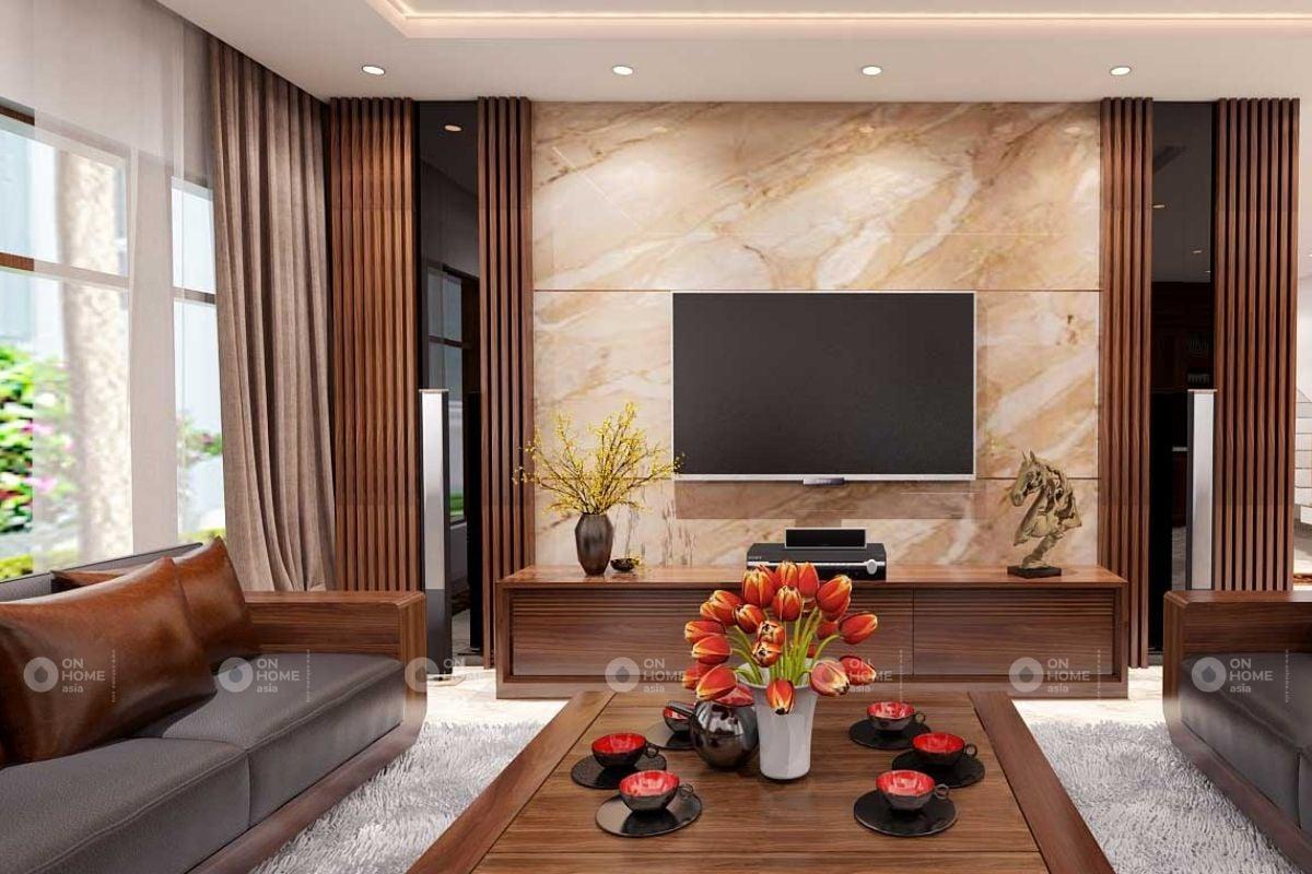 Tủ trang trí phòng khách gỗ tự nhiên sang trọng