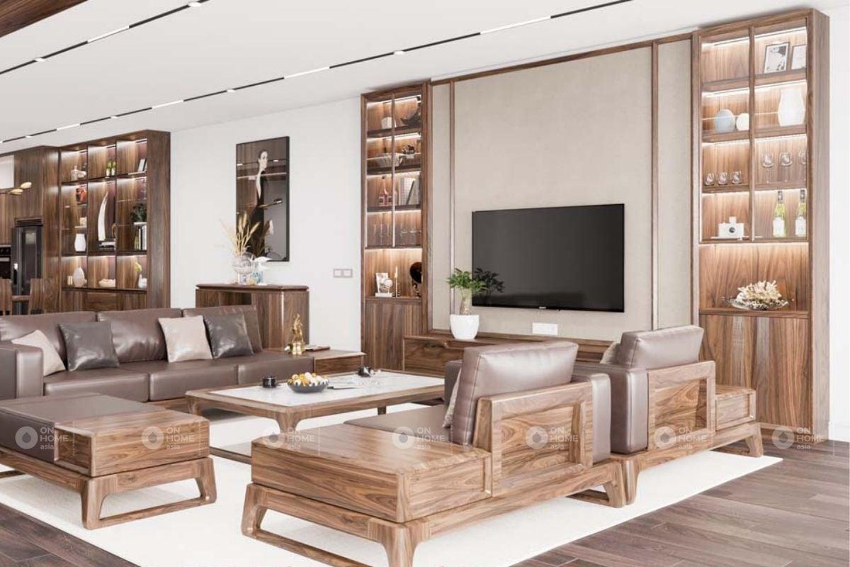 Tủ gỗ kính trang trí phòng khách
