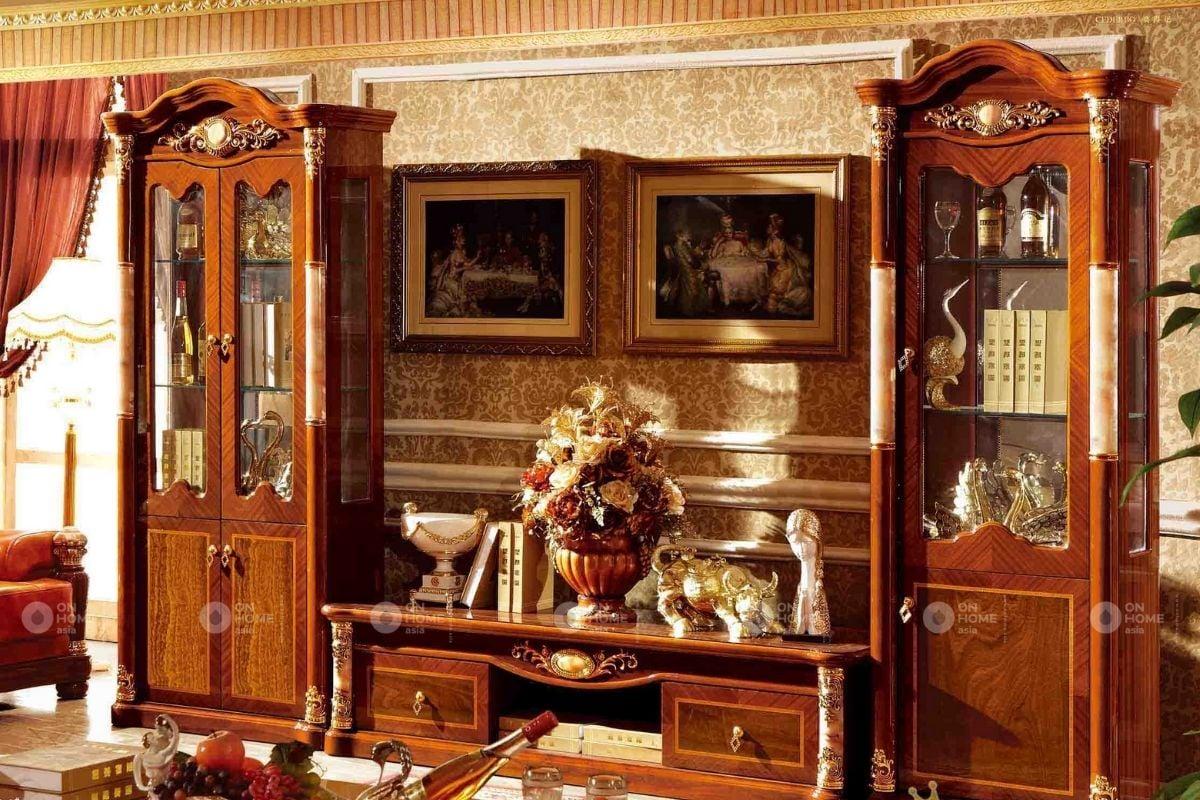 Tủ tường phòng khách tân cổ điển
