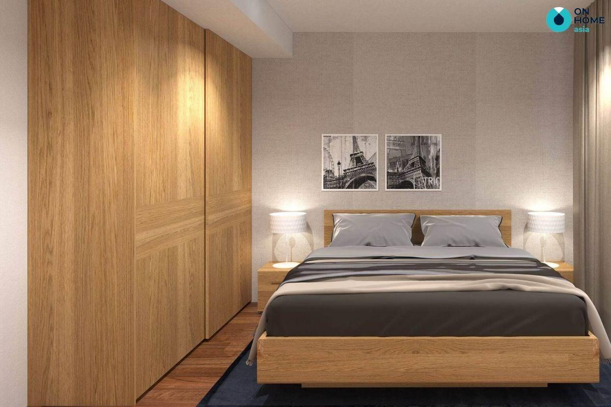 Mẫu tủ quần áo với thiết kế âm tường trong phòng ngủ