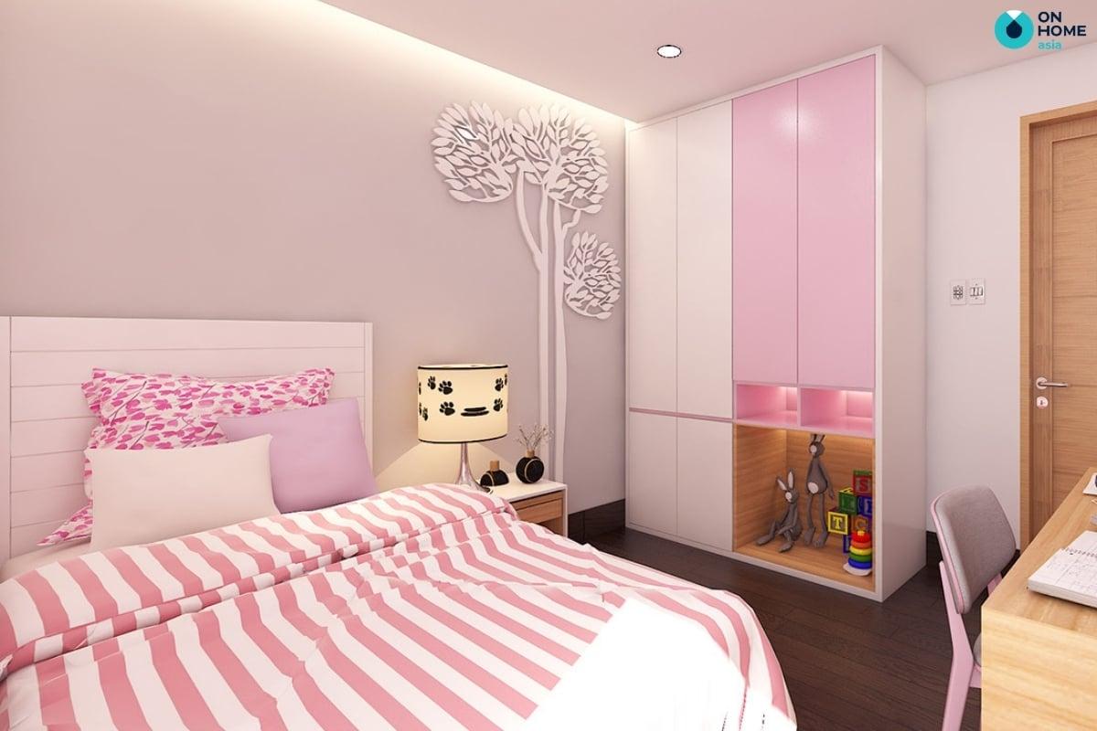 tủ quần áo màu hồng tím