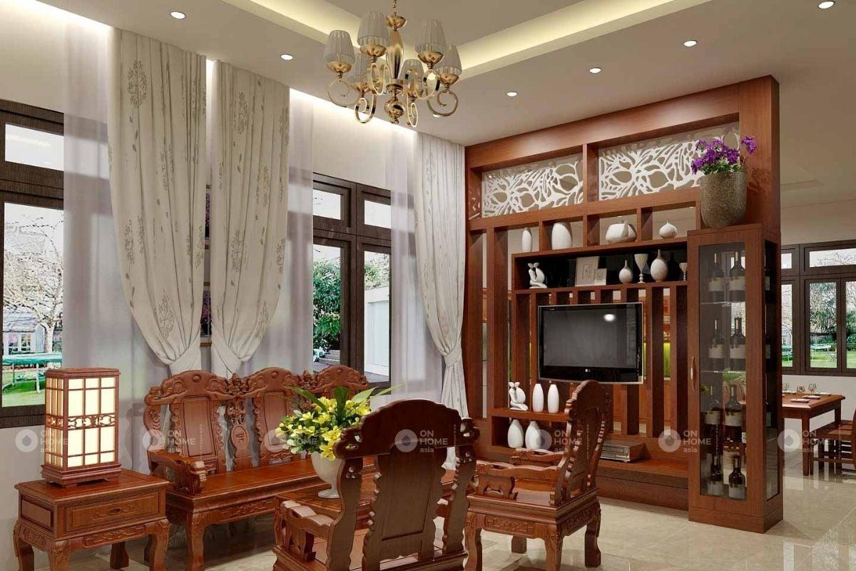 tủ trang trí phòng khách gỗ