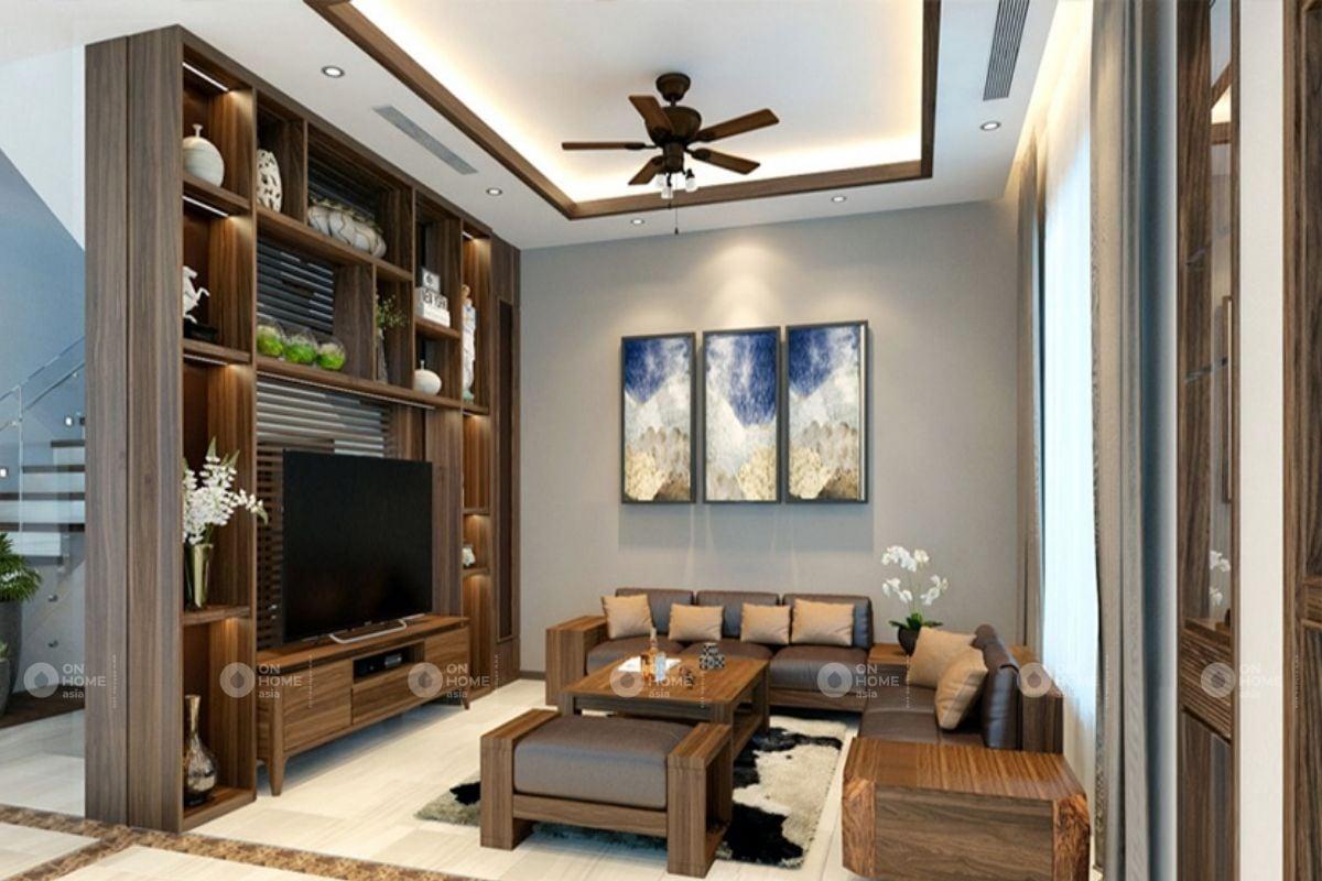 Tủ trang trí phòng khách giúp tăng tính thẩm mỹ cho không gian