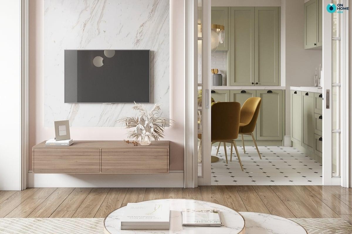 Nội thất phòng khách tinh tế tối giản